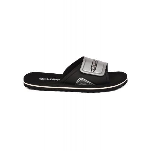 Action Shoes black pvc slip on flip flops
