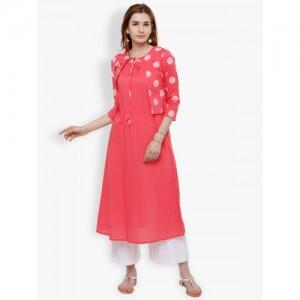 Vishudh Pink Solid Jacket Style Kurta