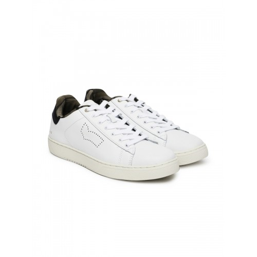 GAS Men White RUSS LTH Leather Sneakers