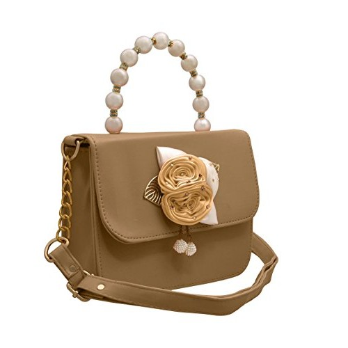 693047b9e55 ... TAP FASHION Fancy Stylish Party Wear Women s Sling Bag With Pearls  Handle and 3d Rose Flower ...