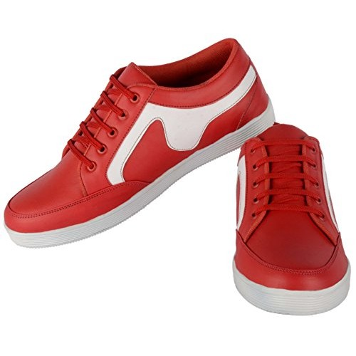 george Adam 108 Red & White Canvas Sneakers
