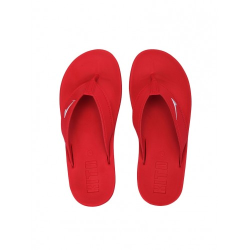 KITO red leatherette toe separator flip flops