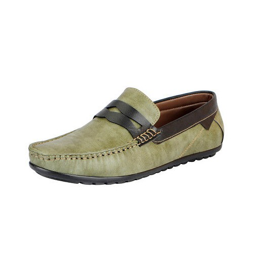 FAUSTO green leatherette slip on loafer