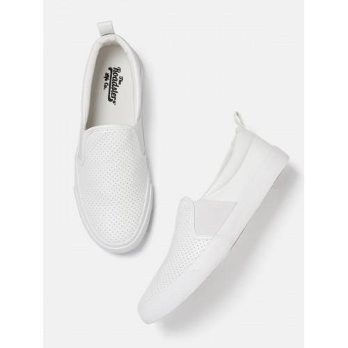Buy Roadster Men White Slip-On Sneakers
