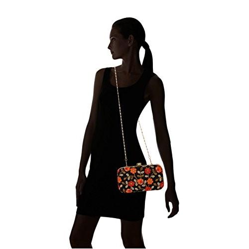 Tooba Handicraft Women's Clutch (Black, Black Machine Flower 7X4)