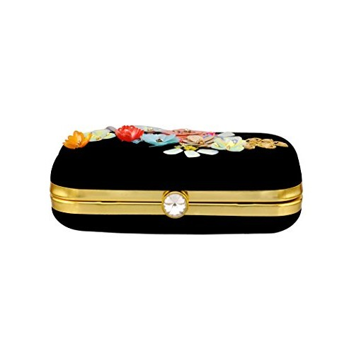 Duchess Women Hand Embroidered Flower Clutches Evening Bags Handbags Wedding Clutch Purse With Sling (000835BG)
