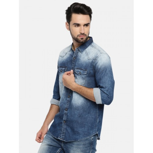 SPYKAR Men Blue Regular Fit Faded Denim Casual Shirt