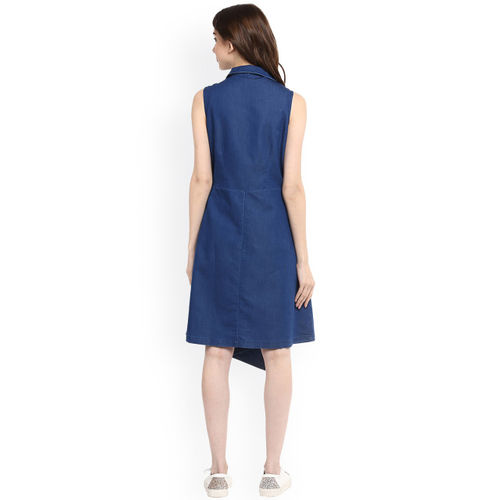 Stylestone Blue Denim Solid Skater Dress