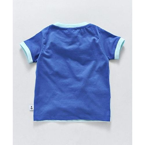 Ollypop Blue Cotton Slim Fit Casual Half Sleeves Tee