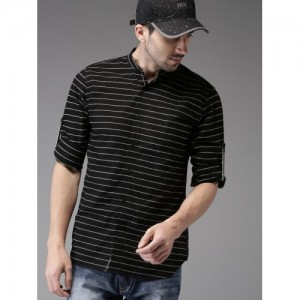 HERE&NOW Black & White Regular Fit Striped Casual Shirt