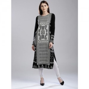 W Embroidered Straight Kurta with Sequins