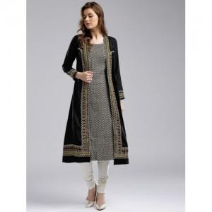 W Women Black & White Woven Design A-Line Layered Kurta