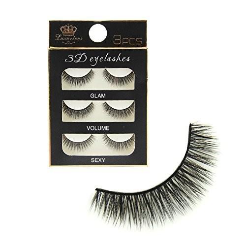 Generic Black Handmade Natural 3D Thick Long False Eyelashes(Pack 3)