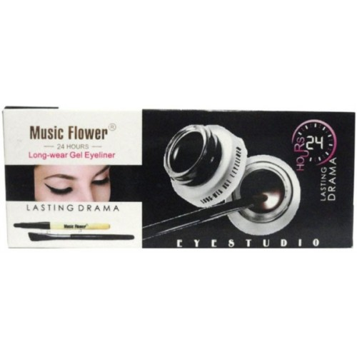 Music Flower PROFESSIONAL JET BLACK EYE LINER GEL FOR LONG LASTING AND SMUDGE PROOF 30 ml