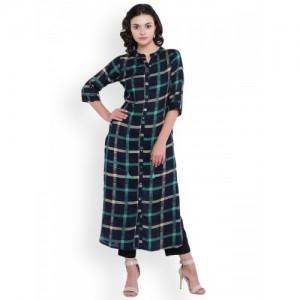 Aujjessa Women Navy Blue & Green Printed Pakistani Style Kurta