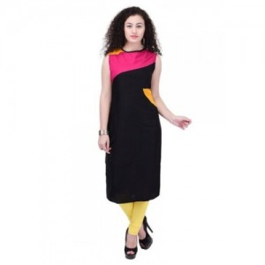 AYAN Casual Plain Rayon Black&Pink Color Straight Kurti