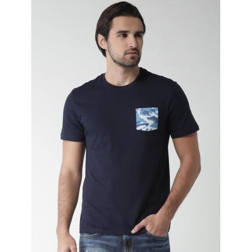 Celio Celio Men Navy Blue Solid Round Neck T-shirt