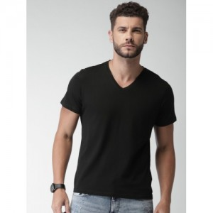 Celio Men Black Solid V-Neck T-shirt