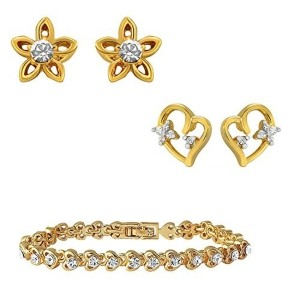 Mahi Combo of Glory gold plated two pair of ear studs and bracelet for Women