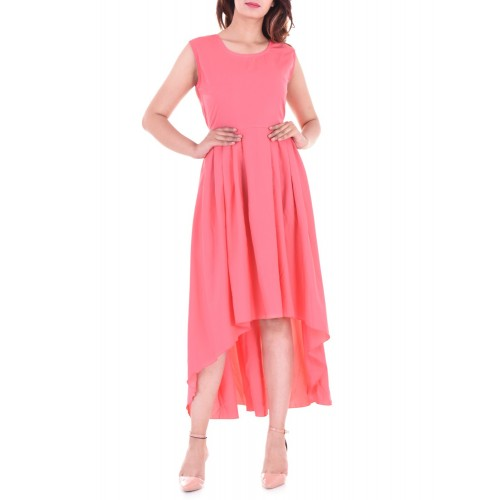 Vaidiki Pink Solid Tail Cut Kurta
