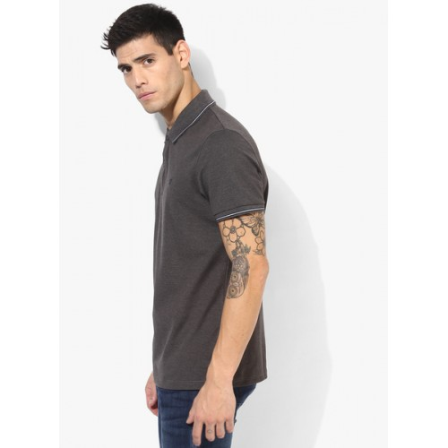 Celio Dark Grey Solid Slim Fit Polo T-Shirt