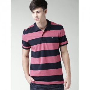 Celio Men Pink Striped Polo Collar T-shirt