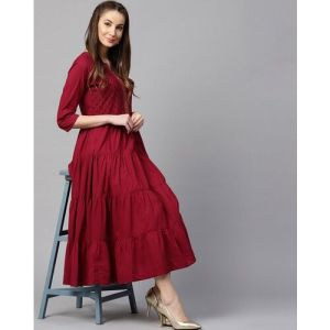 Yufta Maroon Embroidered Tiered Anarkali Kurta