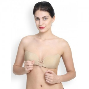 PrettyCat Beige Solid Non-Wired Lightly Padded Stick-On Bra