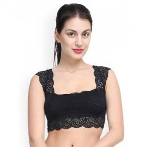 PrettyCat Black Lace Non-Wired Lightly Padded Bralette Bra