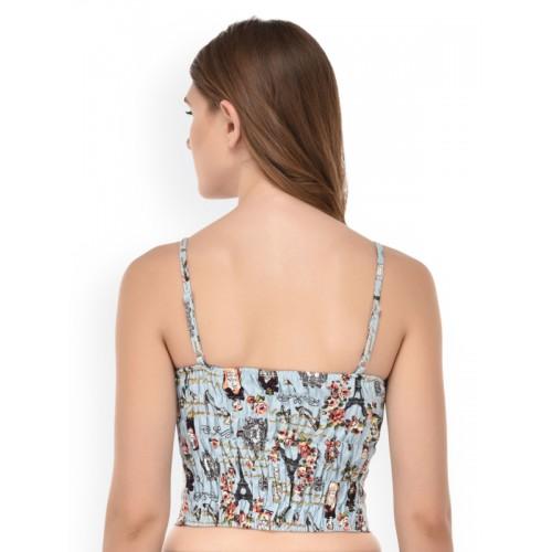 PrettyCat light blue printed cotton lette bra