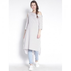 Rare Roots White Printed One Shoulder High Low Kurti