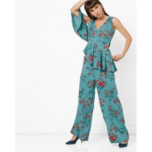 c57dfd596a91 Buy AJIO Blue Viscose Floral Print Panelled Jumpsuit online ...