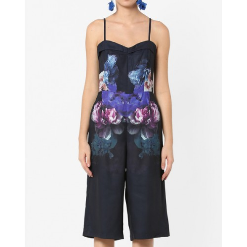 MDS Muscari Strappy Blue Polester Floral Print Cropped Jumpsuit
