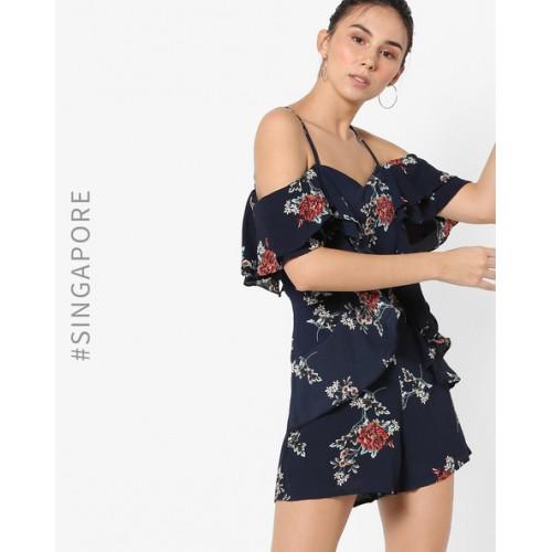 af7d84776dc Buy MDS Blue Crepe Floral Print Cold Shoulder Playsuit online ...