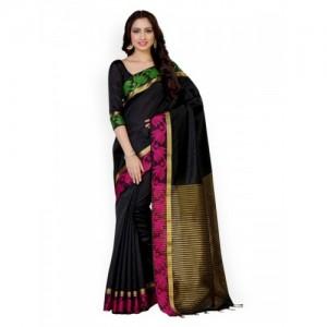 MIMOSA Black Tussar Art Silk Solid Kanjeevaram Saree