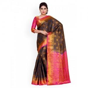 MIMOSA by Kupinda Black Art Silk Woven Design Kanjeevaram Saree