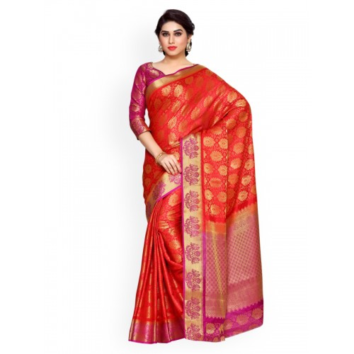 MIMOSA by Kupinda Red Art Silk Woven Design Kanjeevaram Saree