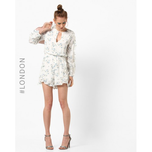Glamorous White Polyester Floral Print Ruffled Playsuit