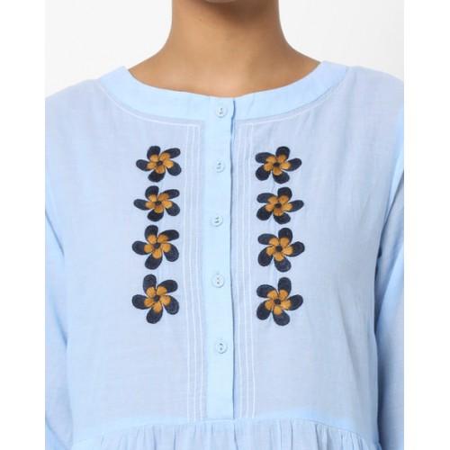 AJIO Embroidered A-Line Kurta with Pockets