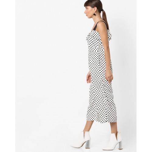 c1a461c89282 Buy AJIO White Polyester Strappy Polka-Dot Print Jumpsuit online ...