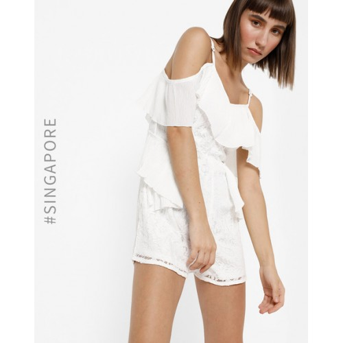 MDS White Polyester Cold-Shoulder Lace Playsuit
