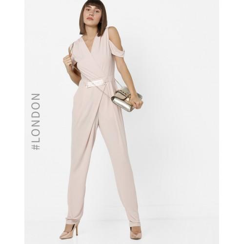 400d385a2d6 ... MELA LONDON Pink Polyester Cold-Shoulder Surplice Neckline Jumpsuit ...