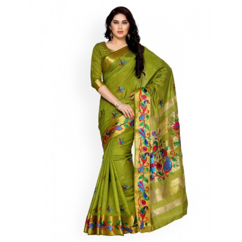 MIMOSA Tassar Silk Saree With Blouse Piece(4124-2085-Am-10-Olv_Olive Green _Free Size)