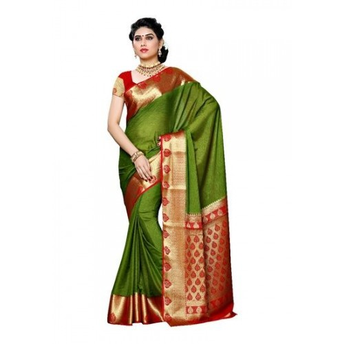 Mimosa Women's Crepe Saree With Blouse Piece (2112-Olv-Rd,Olive,Free Size)