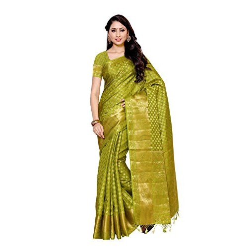 Mimosa Women's Silk Saree With Blouse Piece (228-Olv,Olive,Free Size)