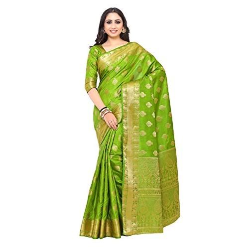 Mimosa green art silk kanjivaram saree with blouse