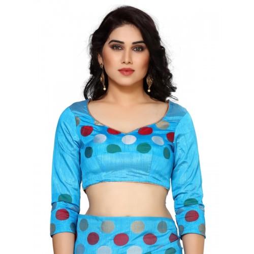 Mimosa green tussar silk woven saree with blouse