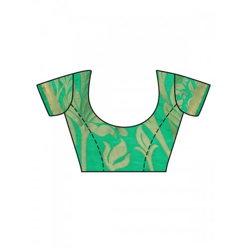 MIMOSA Green Art Silk Woven Design Kanjeevaram Saree