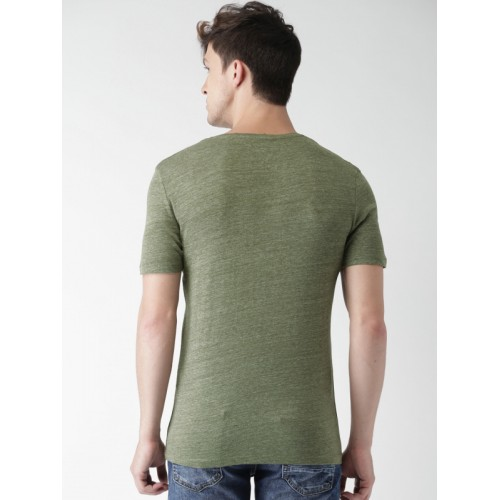 Celio Men Olive Green Solid Slim Fit V-Neck T-shirt