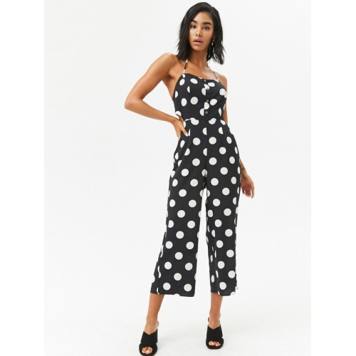 1c79caa1c66 Buy FOREVER 21 Black   White Polka Dot Print Culotte Jumpsuit online ...
